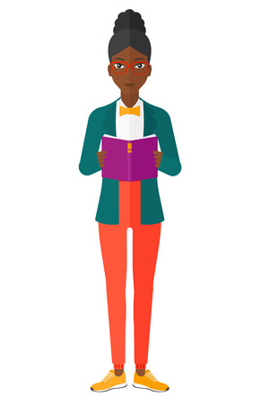An african-american woman standing and reading a book vector flat design illustration isolated on white background.