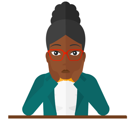A disappointed african-american woman sitting at the table and clutching her head vector flat design illustration isolated on white background.
