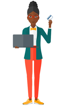woman holding card: An african-american woman holding a laptop and a credit card in hands and making purchases online vector flat design illustration isolated on white background.