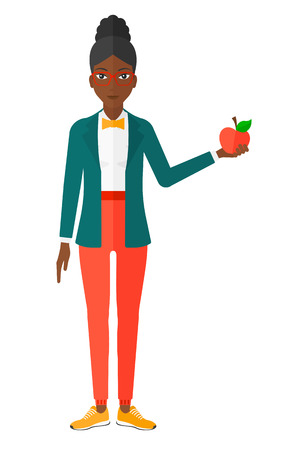 eating fruit: An african-american woman holding an apple vector flat design illustration isolated on white background.