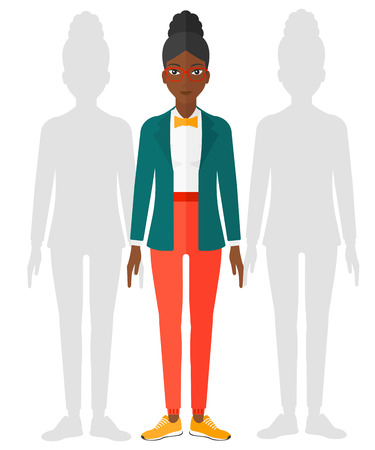 woman behind: An african-american woman standing with two shadows behind her vector flat design illustration isolated on white background.
