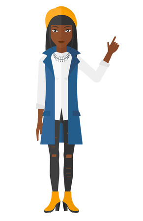 An african-american woman pointing up with her forefinger vector flat design illustration isolated on white background. Illustration