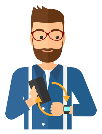 A man holding a smartphone and looking at his smart watch vector flat design illustration isolated on white background.