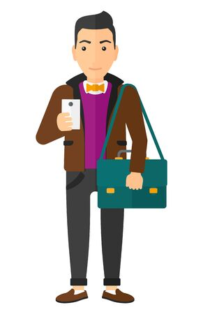 A man using a smartphone vector flat design illustration isolated on white background.