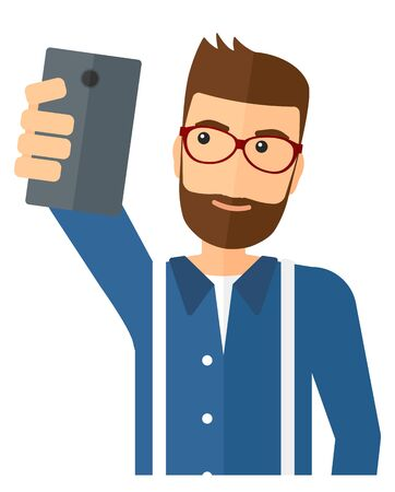 holding smart phone: A man making selfie vector flat design illustration isolated on white background.
