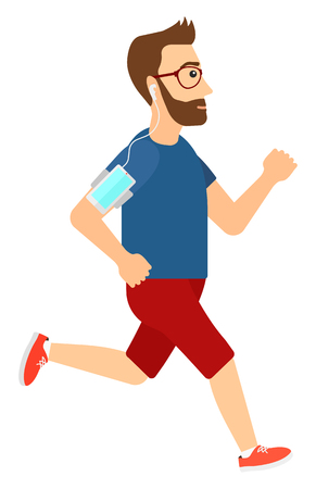 A jogger training with earphones and a smart phone armband vector flat design illustration isolated on white background.