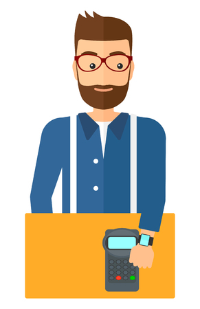 wireless terminals: A man with smart watch on the wrist making payment transaction vector flat design illustration isolated on white background.
