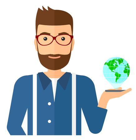 A man standing with a smartphone in a hand and a model of globe above the device vector flat design illustration isolated on white background. Illustration