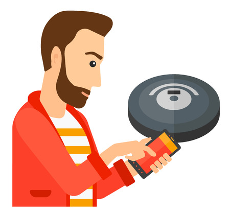 A man controlling robot vacuum cleaner with his smartphone vector flat design illustration isolated on white background.