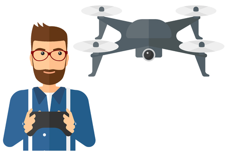 A man flying drone with remote control vector flat design illustration isolated on white background.
