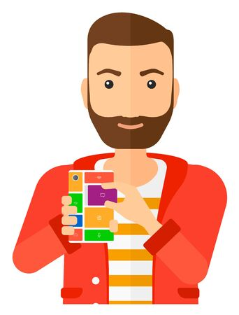 A man with modular phone vector flat design illustration isolated on white background.