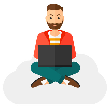 A man sitting on a cloud with a laptop on knees vector flat design illustration isolated on white background.