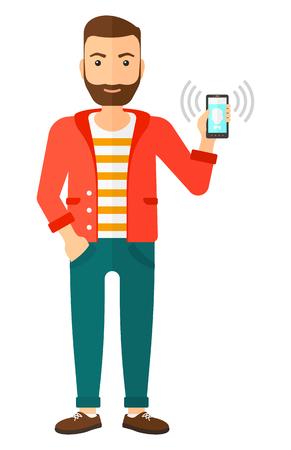 Un hombre que sostiene teléfono inteligente vibra ilustración vectorial diseño plano aislado en el fondo blanco. Foto de archivo - 50784703