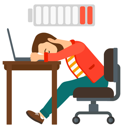power failure: Tired employee sleeping at workplace on laptop keyboard and low power battery sign over his head vector flat design illustration isolated on white background. Illustration