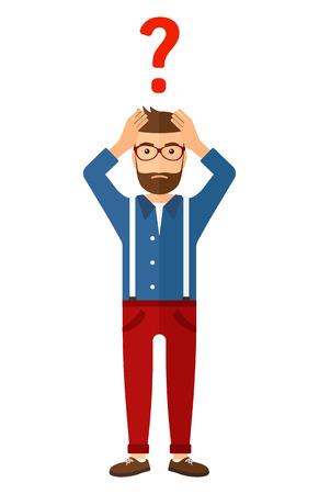 Ein verwirrter Mann, der seinen Kopf und ein großes Fragezeichen über der flachen Designillustration des Vektors lokalisiert auf weißem Hintergrund erfasst.