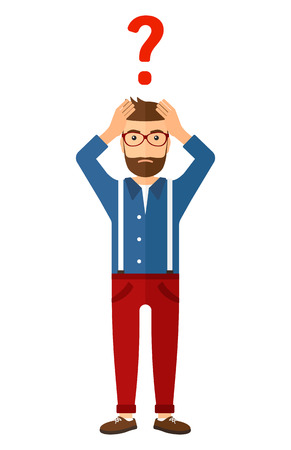 A confused man clutching his head and a big question mark above vector flat design illustration isolated on white background.