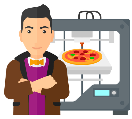 A man standing near 3D printer making a pizza vector flat design illustration isolated on white background. Illustration
