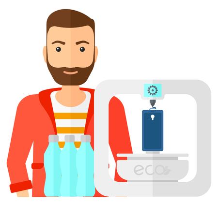 using smartphone: A man standing near 3D printer making a smartphone using recycled plastic vector flat design illustration isolated on white background.
