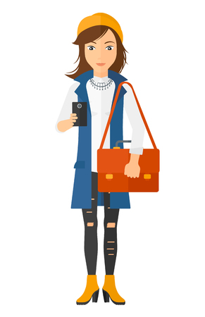 A woman using a smartphone vector flat design illustration isolated on white background.