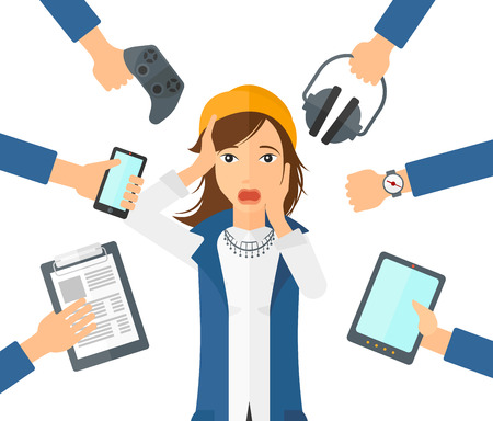 smart girl: A woman in despair and many hands with gadgets  around her vector flat design illustration isolated on white background.