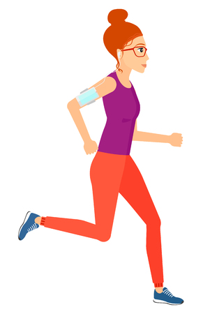 armband: A jogger training with earphones and a smart phone armband vector flat design illustration isolated on white background.