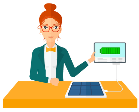 woman tablet: A woman charging a tablet computer with solar panel vector flat design illustration isolated on white background. Illustration
