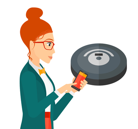 controlling: A woman controlling robot vacuum cleaner with her smartphone vector flat design illustration isolated on white background.