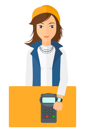 A woman with smart watch on the wrist making payment transaction vector flat design illustration isolated on white background.