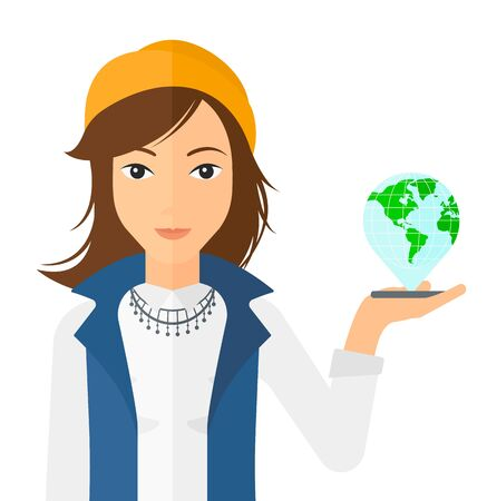 holding smart phone: A woman standing with a smartphone in a hand and a model of globe above the device vector flat design illustration isolated on white background.