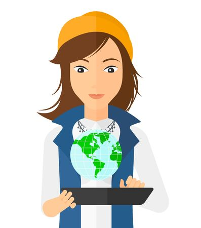 computer model: A woman standing with a tablet computer in hands and a model of globe above the device vector flat design illustration isolated on white background.