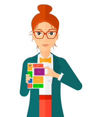 repurpose: A woman with modular phone vector flat design illustration isolated on white background.
