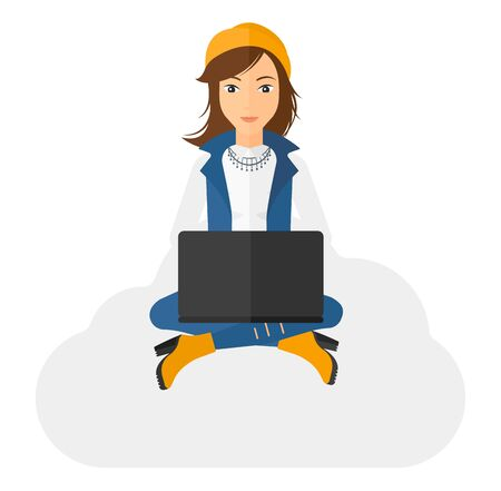 electronic device: A woman sitting on a cloud with a laptop on knees vector flat design illustration isolated on white background.