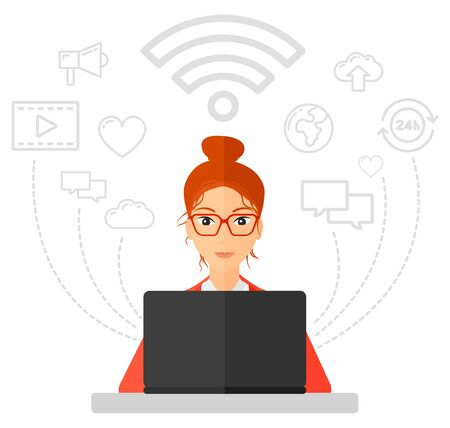 A woman working on a laptop and social computer network icons above her vector flat design illustration isolated on white background.