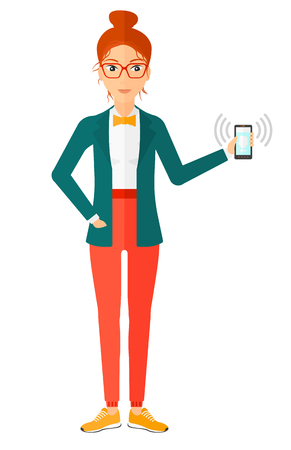 smart phone woman: A woman holding vibrating smartphone vector flat design illustration isolated on white background.