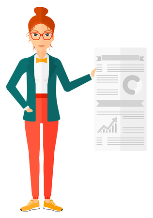A woman standing in office showing her complete paperwork with some text and charts vector flat design illustration isolated on white background.