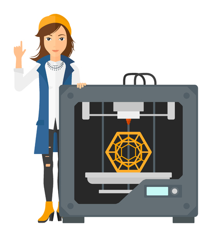 polymerization: A woman pointing forefinger up and standing near 3D printer vector flat design illustration isolated on white background.