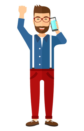 talking: A happy businessman with raised hand talking on the phone vector flat design illustration isolated on white background. Illustration