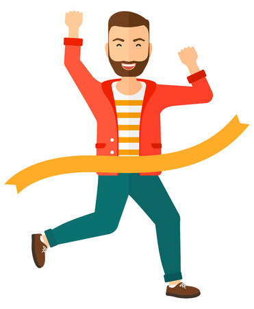 concurrence: A happy businessmen running through finishing line vector flat design illustration isolated on white background.
