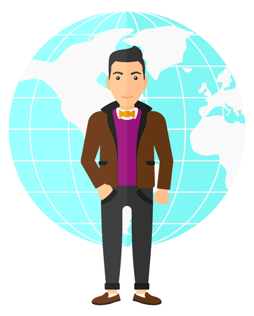 flat earth: A successful businessman standing on earth globe background vector flat design illustration isolated on white background. Illustration