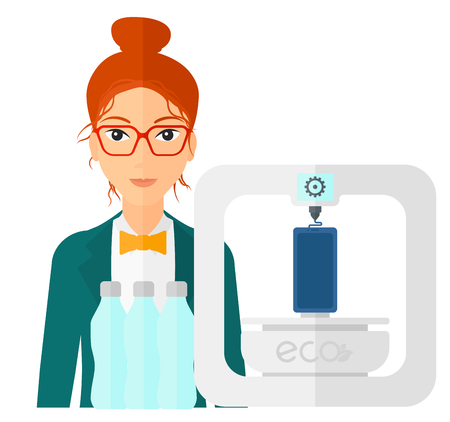 A woman standing near 3D printer making a smartphone using recycled plastic vector flat design illustration isolated on white background.