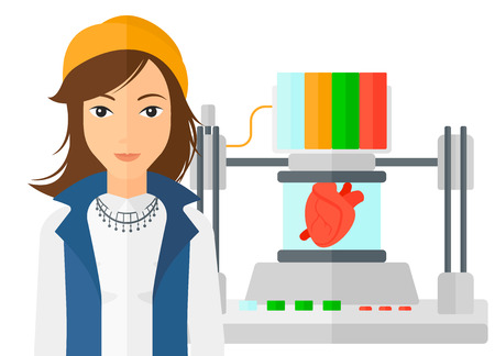 A woman standing near 3D printer making a heart vector flat design illustration isolated on white background.