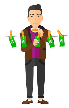 A businessman drying banknotes on clothesline vector flat design illustration isolated on white background. Illustration