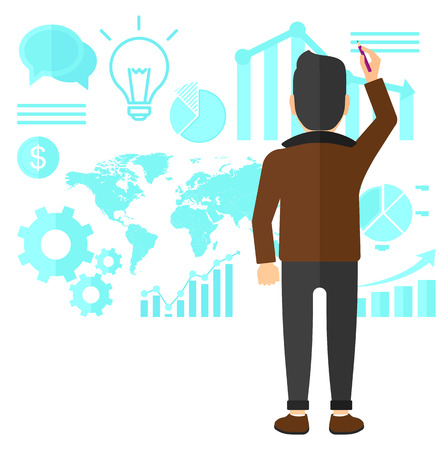 turned: A man turned back at the office and painting something on the wall with many charts on it vector flat design illustration isolated on white background.