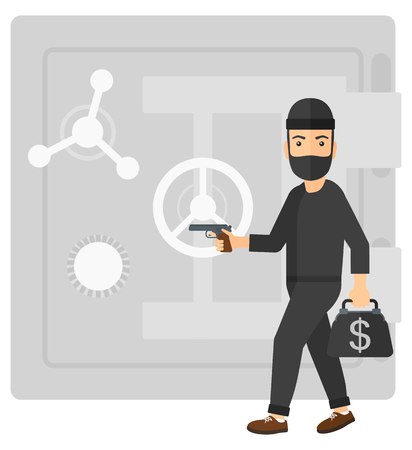heist: A professional burglar in black mask holding hand gun and standing near the big safe door vector flat design illustration isolated on white background.