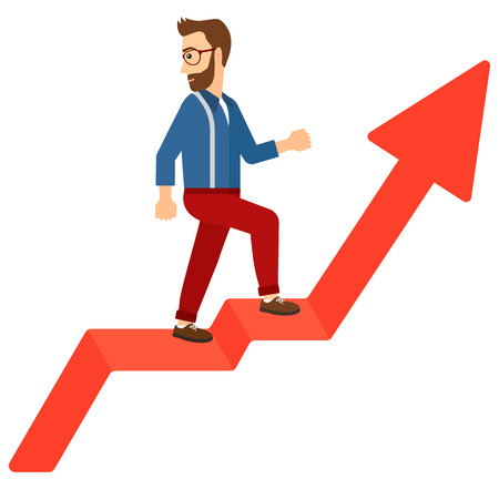 uprising: A man standing on an uprising chart and looking down vector flat design illustration isolated on white background.