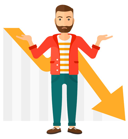 going down: A stressed man with going down chart on a background vector flat design illustration isolated on white background.