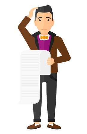 A worried employee holding a long bill in hand vector flat design illustration isolated on white background.
