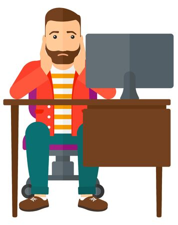 flagging: A tired employee sitting at the table in front of computer monitor in office and clutching his head vector flat design illustration isolated on white background.