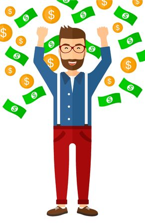 excited cartoon: A successful entrepreneur with raised hands up standing under  flying money vector flat design illustration isolated on white background.