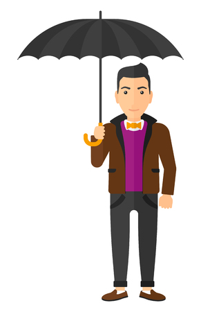 sheltering: A businessman standing and holding an umbrella vector flat design illustration isolated on white background. Illustration